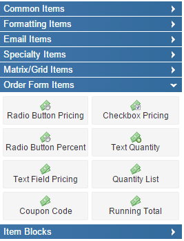 Formsite Order Form Items