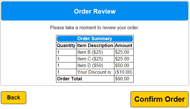 Order Summary with Discount