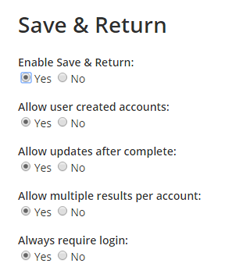 Save & Return Settings