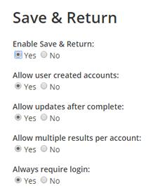 Save & Return Settings