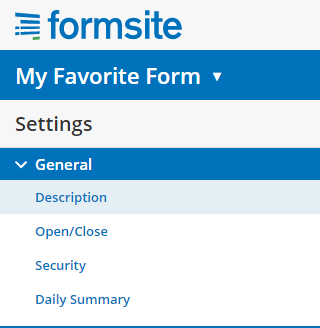 Formsite form settings