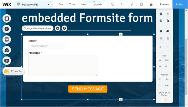 Formsite form with Wix website builder