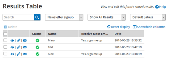 Results Views filtered Results Table