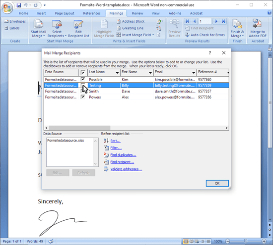 Formsite Word Mail Merge edit recipients