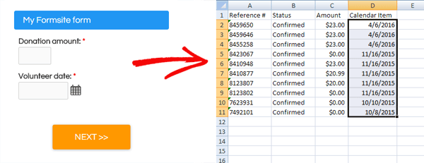 Formsite Excel results