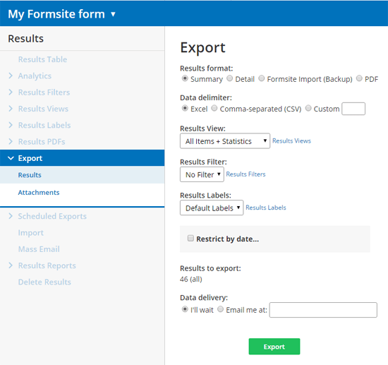 Formsite export results