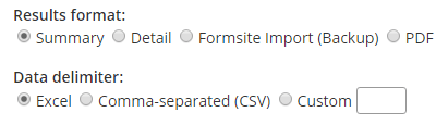Formsite export settings