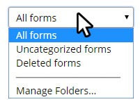 Formsite features form folders