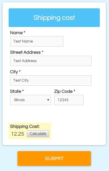 Formsite calculations shipping cost