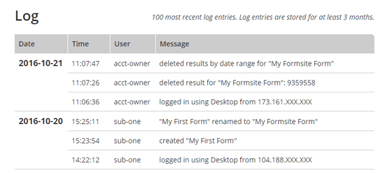 Formsite log