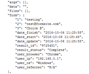 Formsite server post response