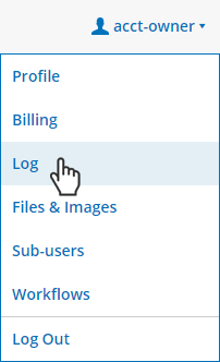Formsite User menu -> Log