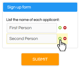 Formsite Multiple Answer Text List