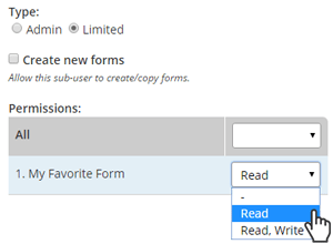 Formsite sub-users permissions