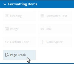 Formsite multiple pages page break