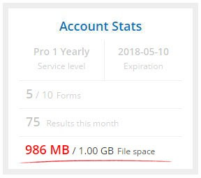 Formsite file upload account stats