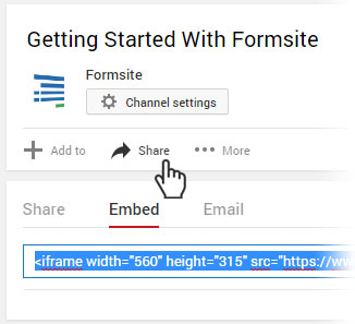 Formsite Custom Code embed video
