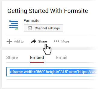 Formsite Custom Code embed video