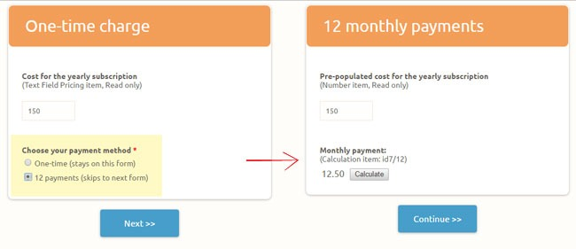 Formsite recurring billing choose