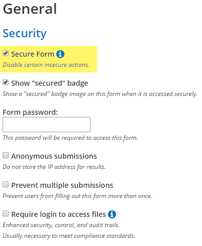 Formsite secure forms settings