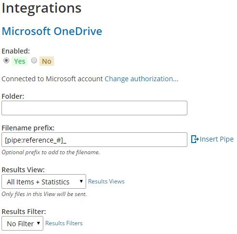 Formsite Microsoft OneDrive integration settings