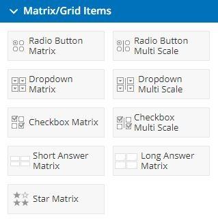 Formsite matrix items
