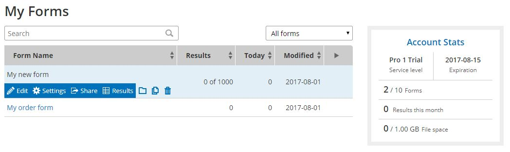 Formsite My Forms Account Stats
