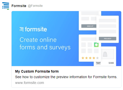 Formsite link preview