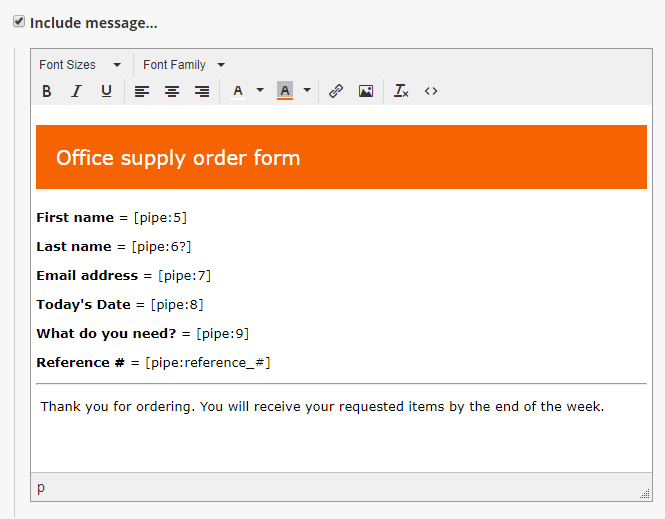Formsite email receipt build