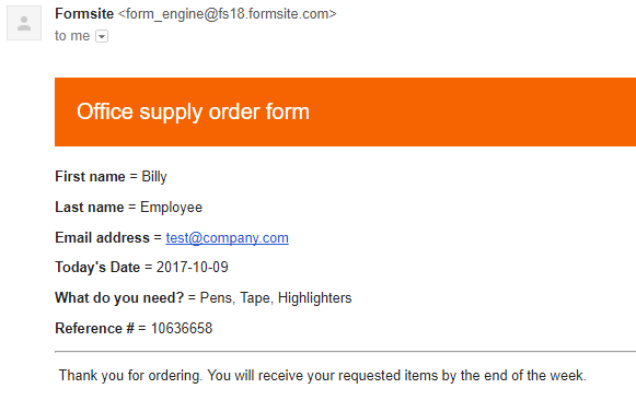 Formsite email receipt