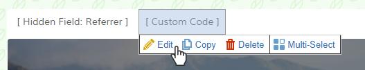 Formsite landing page custom code