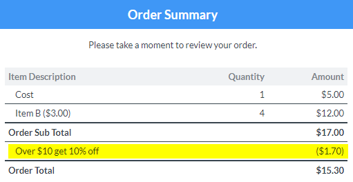 Formsite order form additions auto percent discount