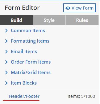 formsite form header footer editor