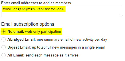 Formsite group email Google Group email form_engine