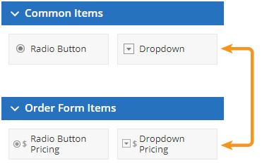 Formsite order form items common
