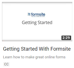 Formsite new help YouTube video