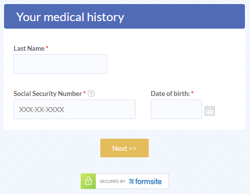 Formsite encryption medical information