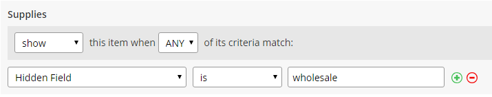 Formsite show conditional items rules