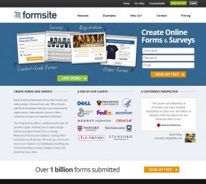 Formsite 20 years 2014 homepage