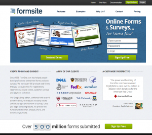Formsite 20 years 2013 homepage