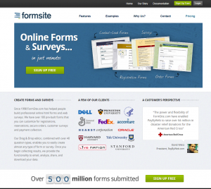 Formsite 20 years 2012 homepage