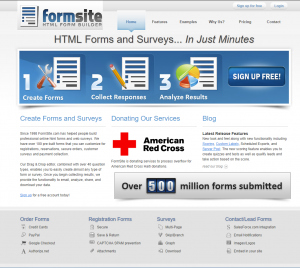 Formsite 20 years 2010 homepage