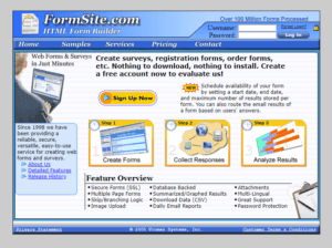 Formsite 20 years 2005 homepage