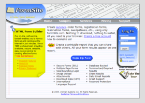 Formsite 20 years 2004 homepage