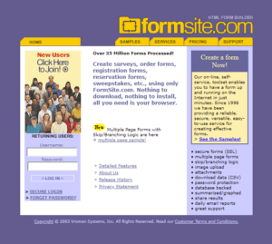 Formsite 20 years 2003 homepage