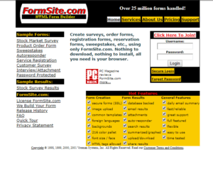 Formsite 20 years 2001 homepage