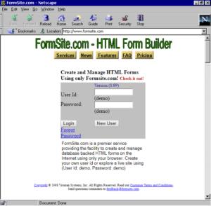 Formsite 20 years 1998 homepage