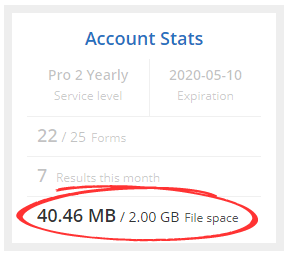 formsite service level limits file space
