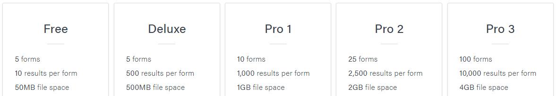 Formsite service level limits