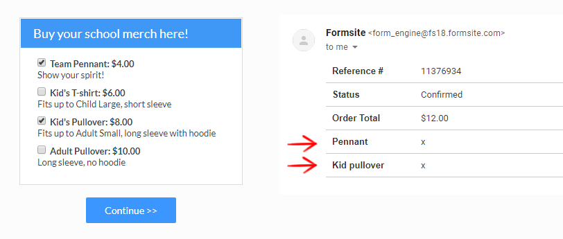 Formsite add email content